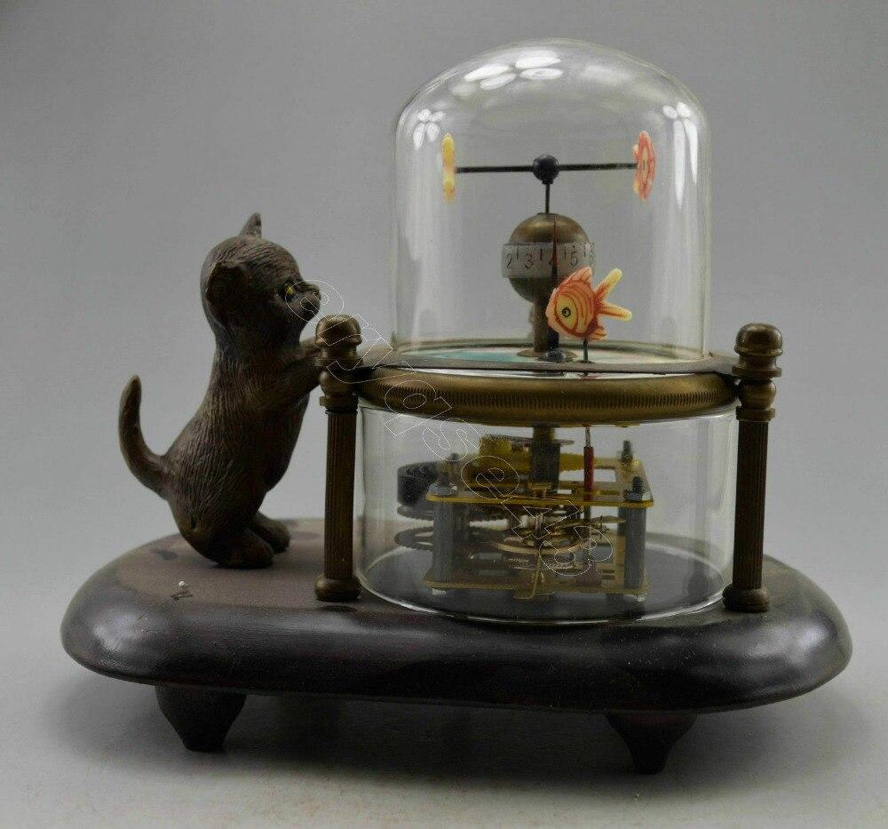 ساعة طاولة ميكانيكية منحوتة على شكل سمكة قطة ، صناعة يدوية قديمة ، قابلة للتحصيل ، شحن مجاني ، AAAAAAAAA