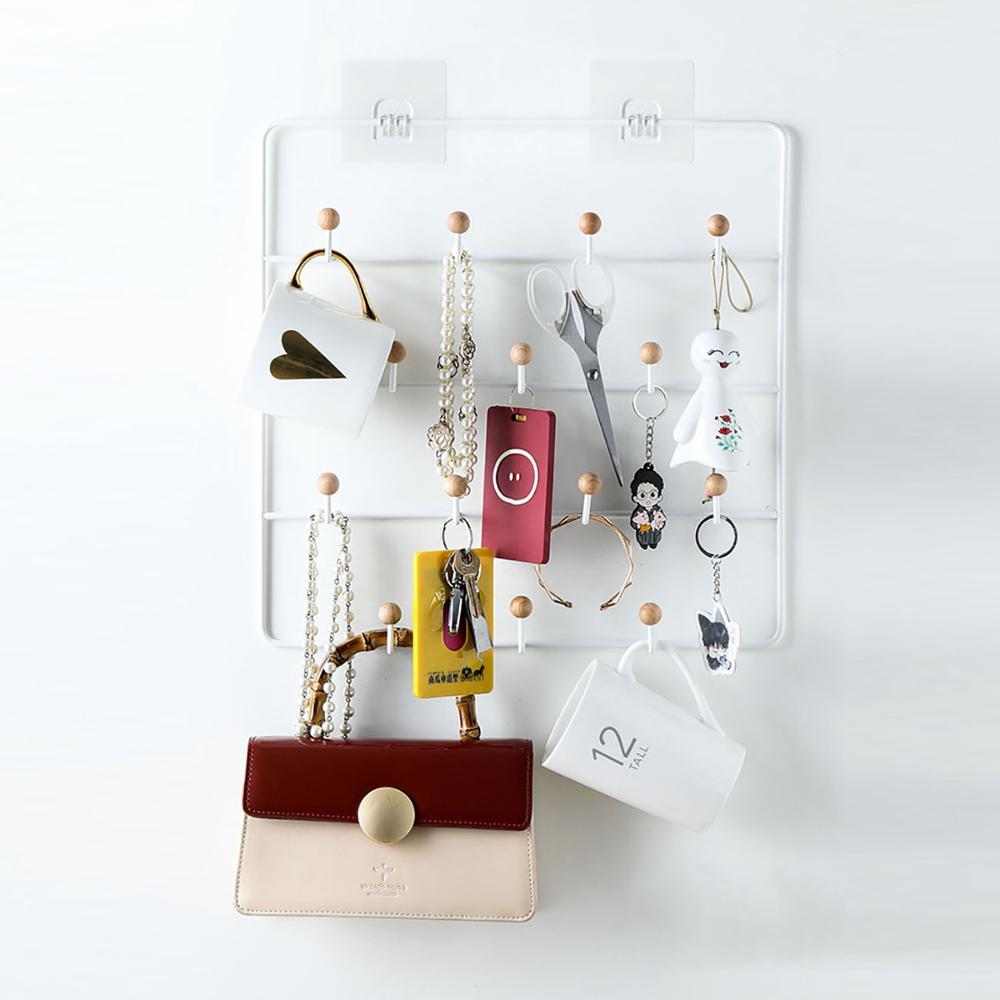 Ganchos de suspensión de pared grandes soporte para llaves para sala de estar sombreros bolso de bufanda Almacenamiento de llaves perchas estante pared decoración del hogar 14 ganchos