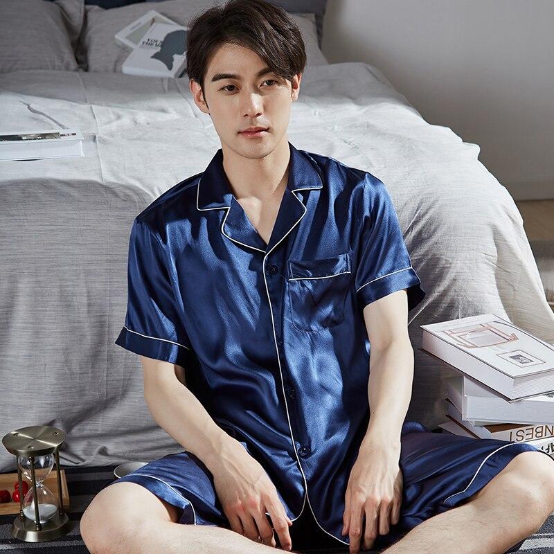 100% Silk Pajama Men Summe Short Pyjama Button-Down Solid Red Pijama Hombre 2PCS Set Home Clothes Pure Silk Nightwear PJ