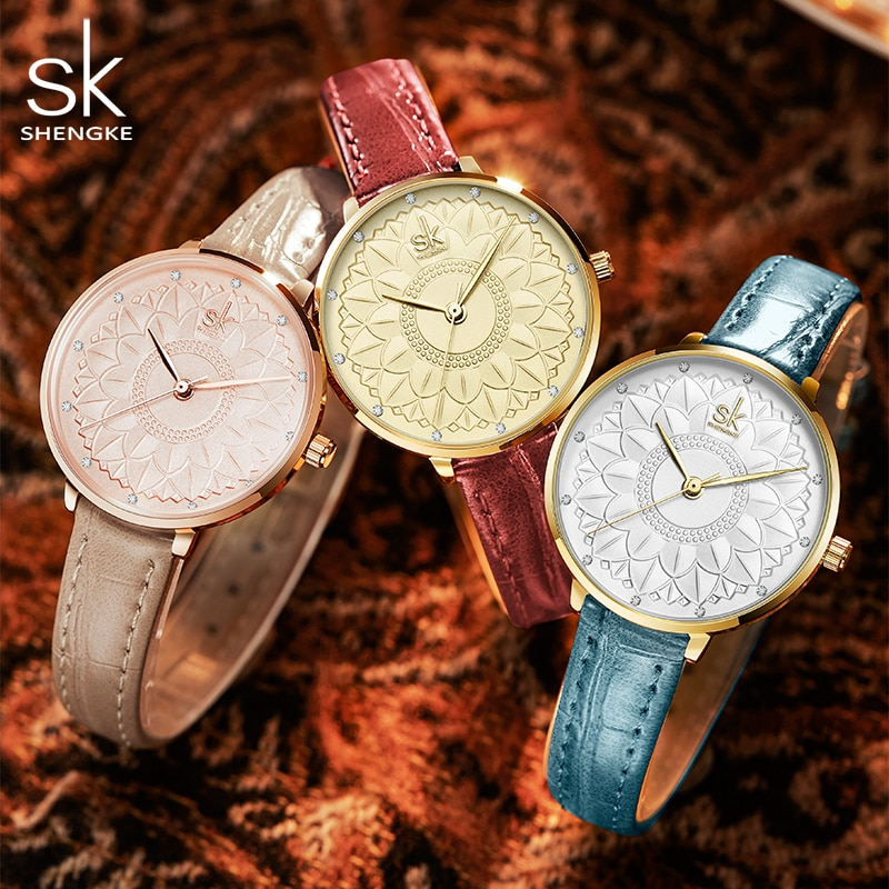 Shengke Women Watches Flower Dial Clcok Japanese Quartz Movement Elegant Wristwatches for Women Leather Gril Strap Reloj Mujer enlarge