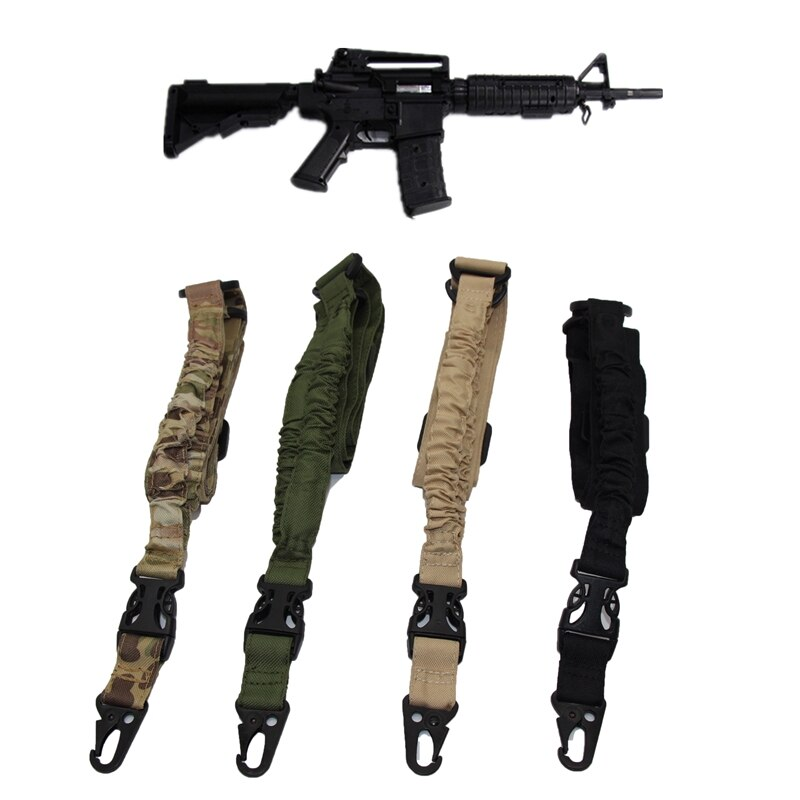 Tactical One 1 Single Point Sling Adjustable Airsoft M4 AR15 AK Rifle Gun Sling Bungee Shoulder Belt Strap Hunting Accessories magorui heavy duty tactical one single point sling adjustable bungee rifle gun sling strap