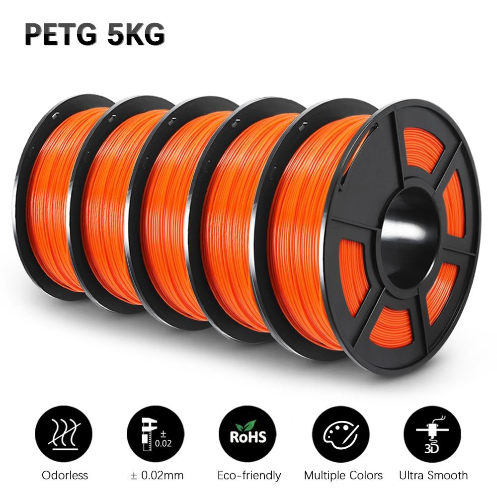GOHIGH PETG 5 Rolls 5KG Filament  PETG 3D Printer Materials Refills Environmental Protection Non-toxic For All Prin