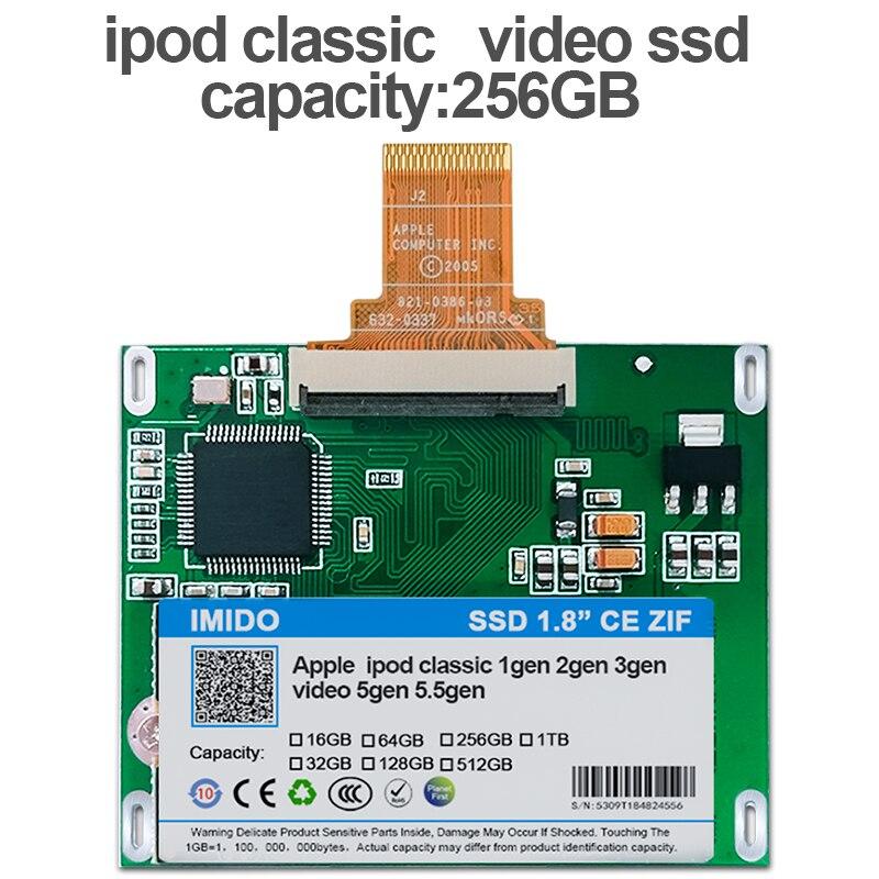 256GB SSD para Ipod classic 7Gen Ipod video 5th reemplazar MK3008GAH MK6008GAH MK801GAH MK1634GAL Ipod HDD disco duro