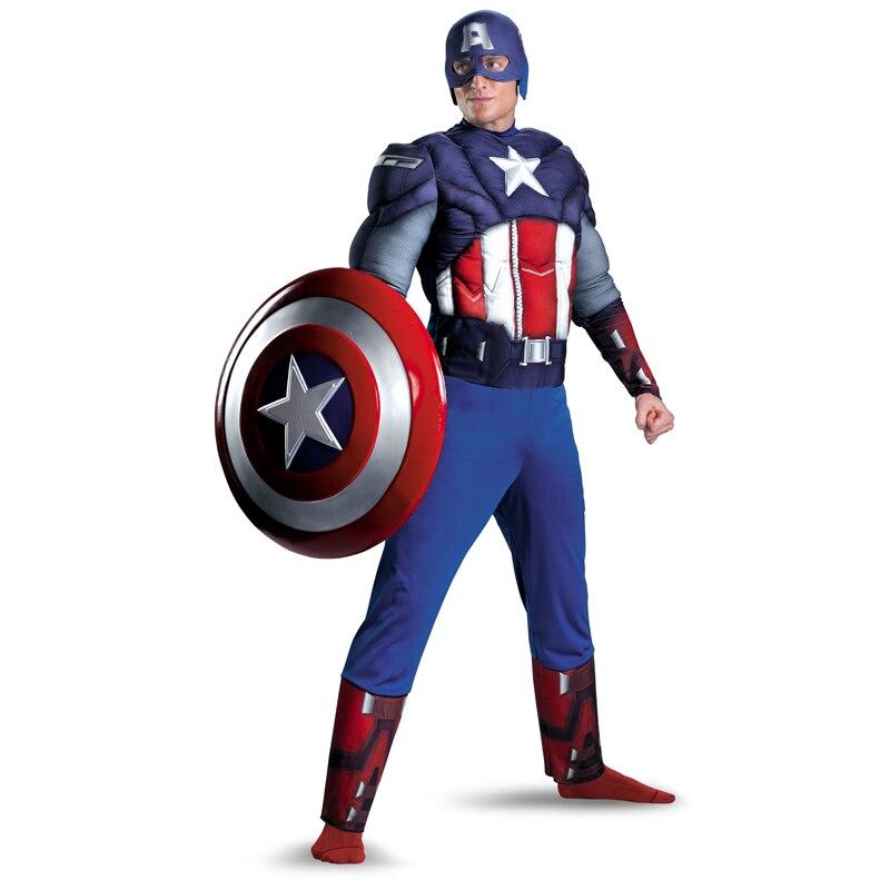 El Capitán América músculo disfraz de pecho de los hombres adultos Marvel superhéroe película de fantasía vestido ropa mascarada Cosplay válvula