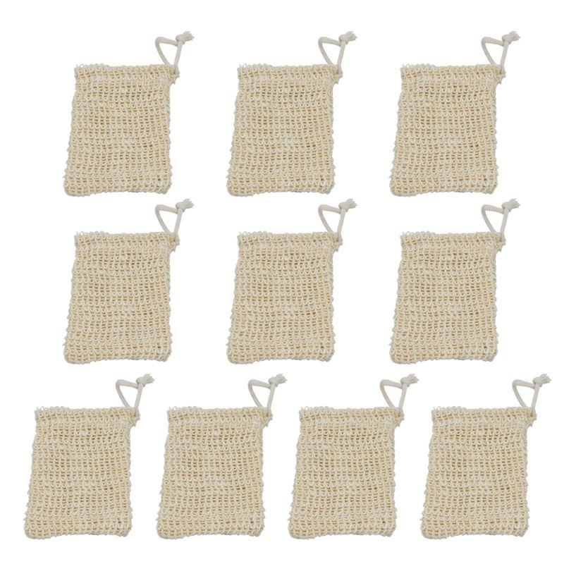 Paquet de 10 sac de savon Sisal naturel doux exfoliant maille barre de savon poche support économiseur