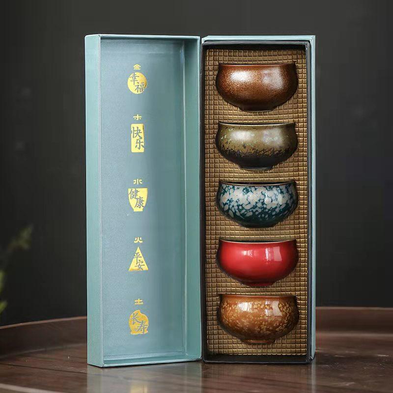Керамическая чашка, керамическая чайная чашка кунг-фу, чашка для запеченного чая в стиле ретро, чайная чашка, личная чашка, Подарочная короб...