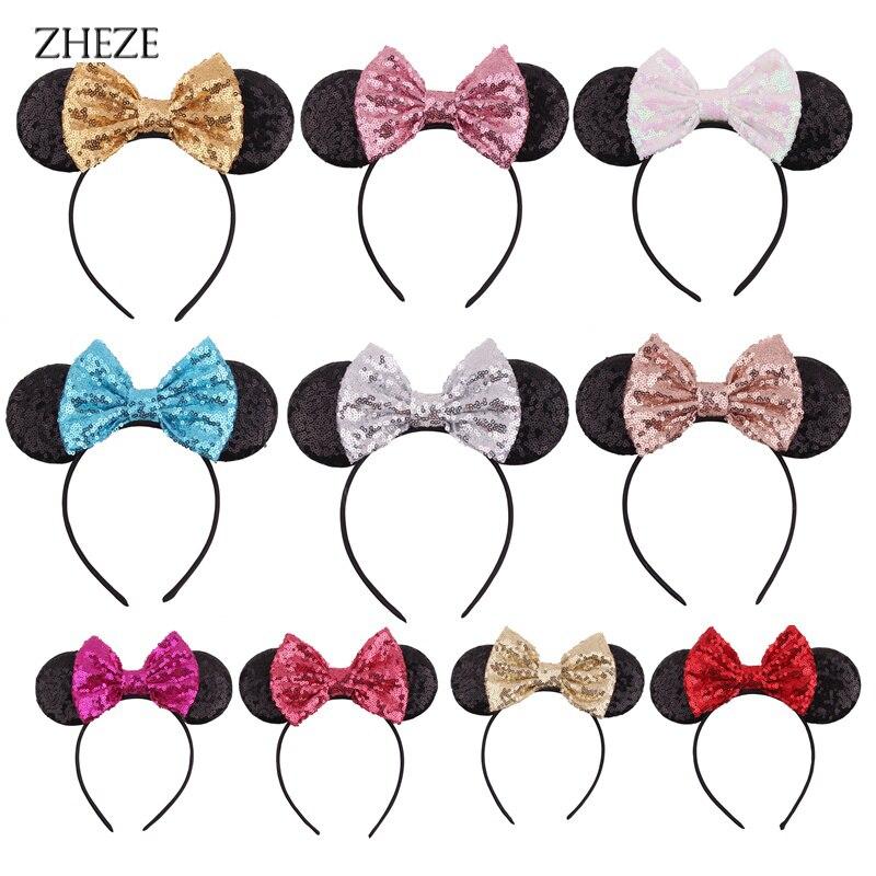 Retail 1PC 2021 New Glitter Ears Headband 5 Sequin Bow Hairwear DIY Handmade Headwear For Kids Party Hair Accessories