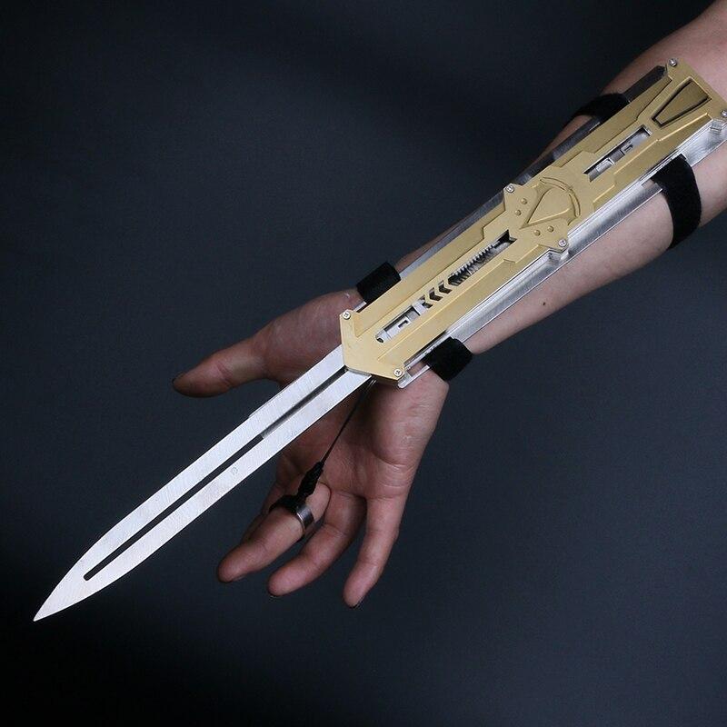 Металлический клинок скрытый клинок меч экшн-фигурка скрытое лезвие оружие из нержавеющей стали рукав меч может всплывать детские игрушки