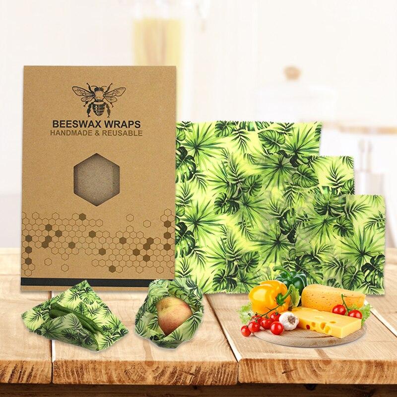 3 шт./компл., пчелиный воск, обертывание, ткань, свежие наборы, многоразовый пчелиный воск, пчелиный воск, пищевая упаковка, герметичный чехол для сохранения свежести