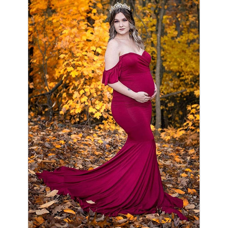 Shoulderless Ruffled Sleeve Pregnancy Dress Photography Props Maternity Maxi Gown Dresses For Photo Shoot Pregnant Women Clothes enlarge