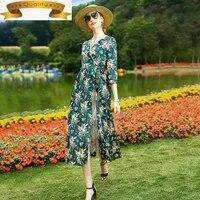 100 real summer silk dress floral midi dresses for women elegant green dress fashion 2021 v neck vestido kml20a3120 pph312