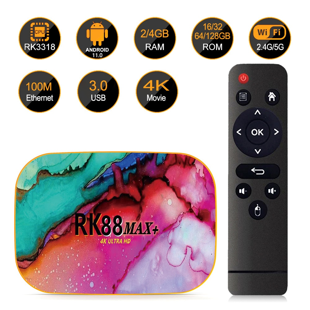 Rk88 max + android 11.0 smart tv box 32/64/128gb 4k 1080p hd completo rk3318 2.4g/5g wifi bt media player conjunto caixa superior