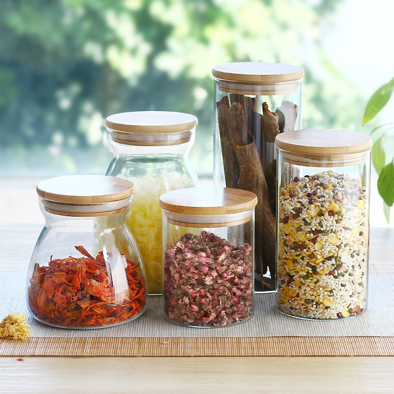 150/500/750ml/1000ml/1100ml Bamboo Lid Glass Airtight Canister Storage Bottles Jars Grains Tea Leaf Coffee Beans Candy Food Jar
