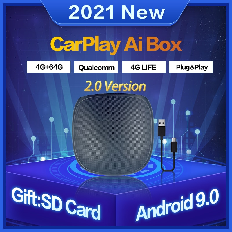Carplay Ai صندوق لاسلكي Carplay بلوتوث IOS محول أندرويد السيارات صندوق التلفزيون 9.0 4 + 64G لأودي volkswagen مرسيدس فورد سكودا
