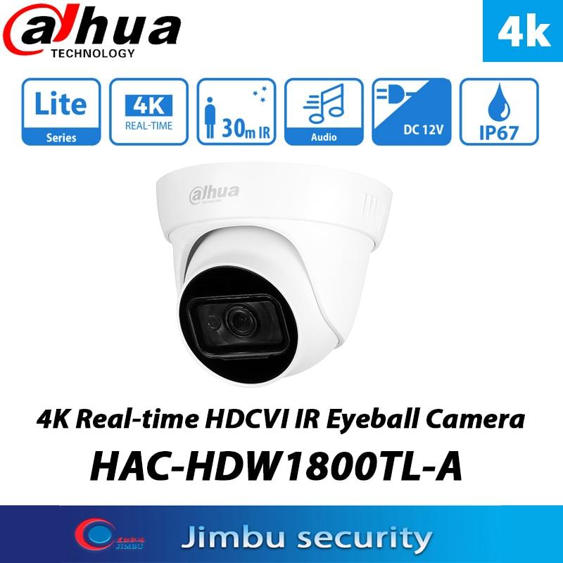 داهوا 8MP 4K HDCVI كاميرا تعمل بالأشعة فوق الحمراء HAC-HDW1800TL-A IR30M cctv ميكروفون IP67 CVI/CVBS/AHD/TVI كاميرا محاكاة للتحويل