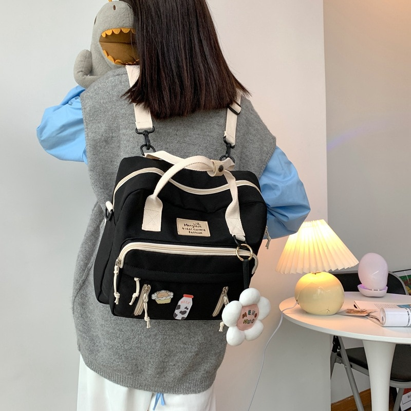 حقيبة قماشية على النمط الكوري حقيبة ظهر صغيرة صغيرة للنساء حقيبة للمدرسة فتاة 2021 زهرة على ظهره الإناث حقيبة مدرسية صغيرة على ظهره