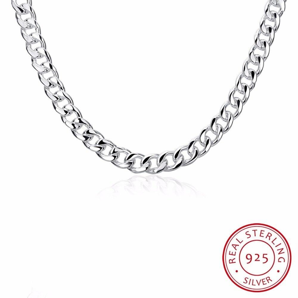 Lekani, joyería fina para hombres, collar plano De 20 pulgadas De ancho y 10mm, amuleto De moda De Plata De Ley 925, collar De plata De ley grueso