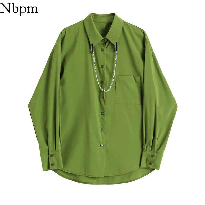 Nbpm Women Blouses Fashion 2021 Green Vintage Clothing Elegant Long Sleeve Blusas Mujer Female Shirt Top Women Basic Solid Shirt