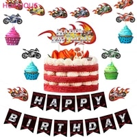 motorcycle theme birthday party banner motorcycle balloon cake decoration motorcycle card set balloon racing locomotive party