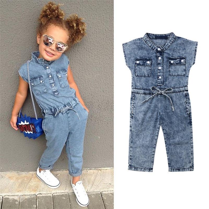 Summer Girls Pocket Denim Romper Jumpsuit Pocket Denim Romper Baby Girl Clothes Trousers Outfit Toddler Girl Sunsit Playsuit