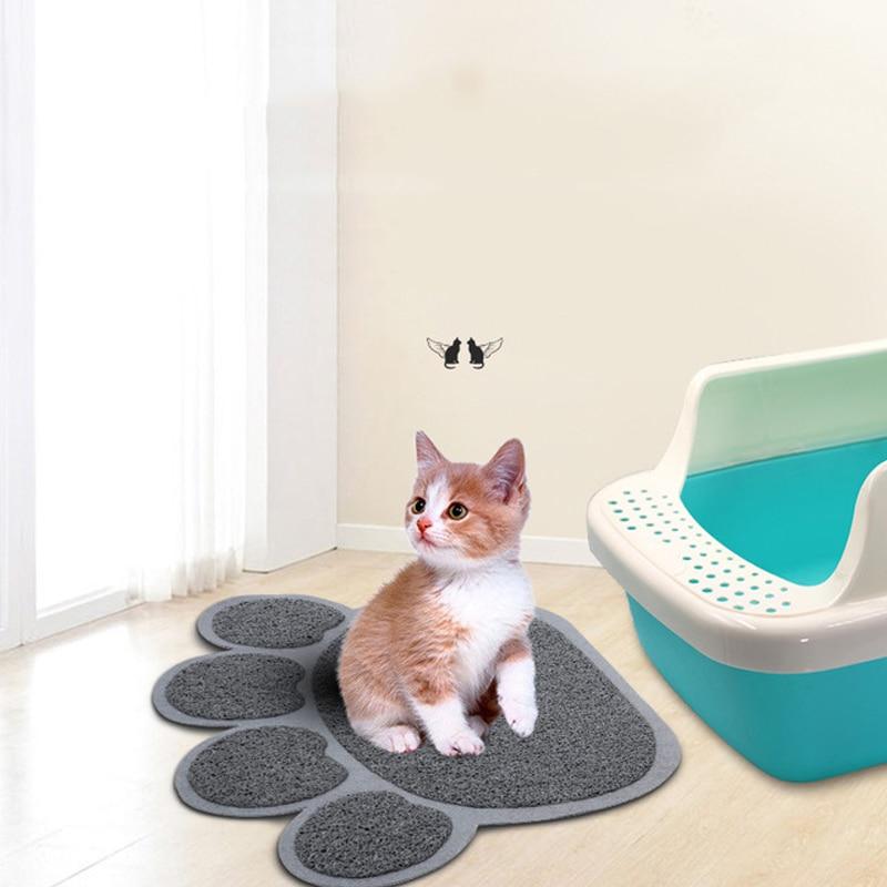 Gato de arena para mascotas esterilla para atrapar Durable del PVC de la pata de gato impresión lavable no de salida de escape en el cuarto de baño de la alimentación del gato Mat alfombra de gato para gato caja de arena