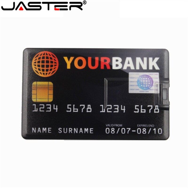 JASTER-tarjeta de crédito a prueba de agua, memoria USB 2,0 de 64GB, pendrive de 4GB, 8GB, 16GB, 32GB, modelo de tarjeta de memoria u
