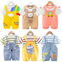 Baby Boy&Girl Clothes Summer Birthday Suits Newborn Party Dress Soft Cotton Solid Rmper + Belt Pants
