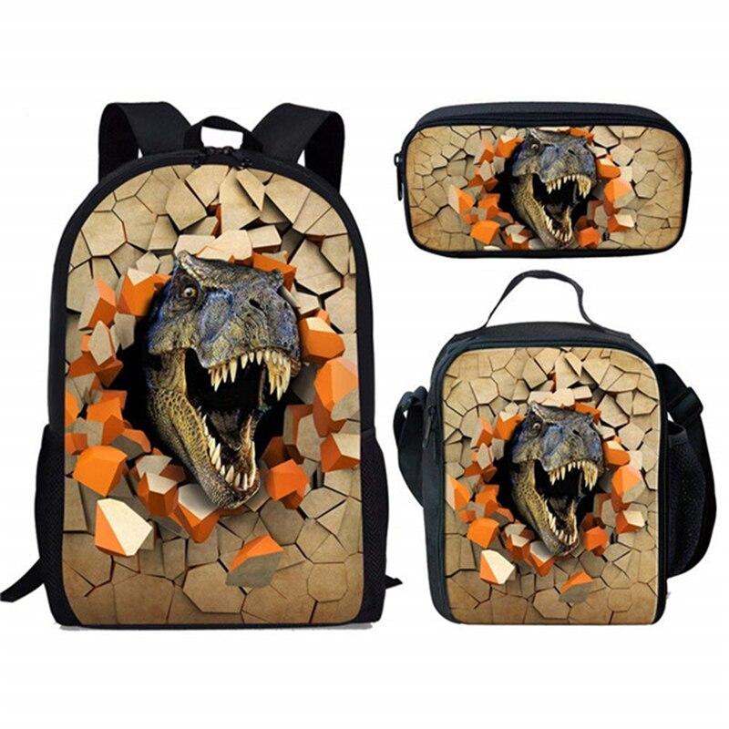 HaoYun 3PCs/Set 3D Design Dinosaur Prints Pattern School Bag Animal Design Boys School Backpack Children Schoolbag Kids Mochila