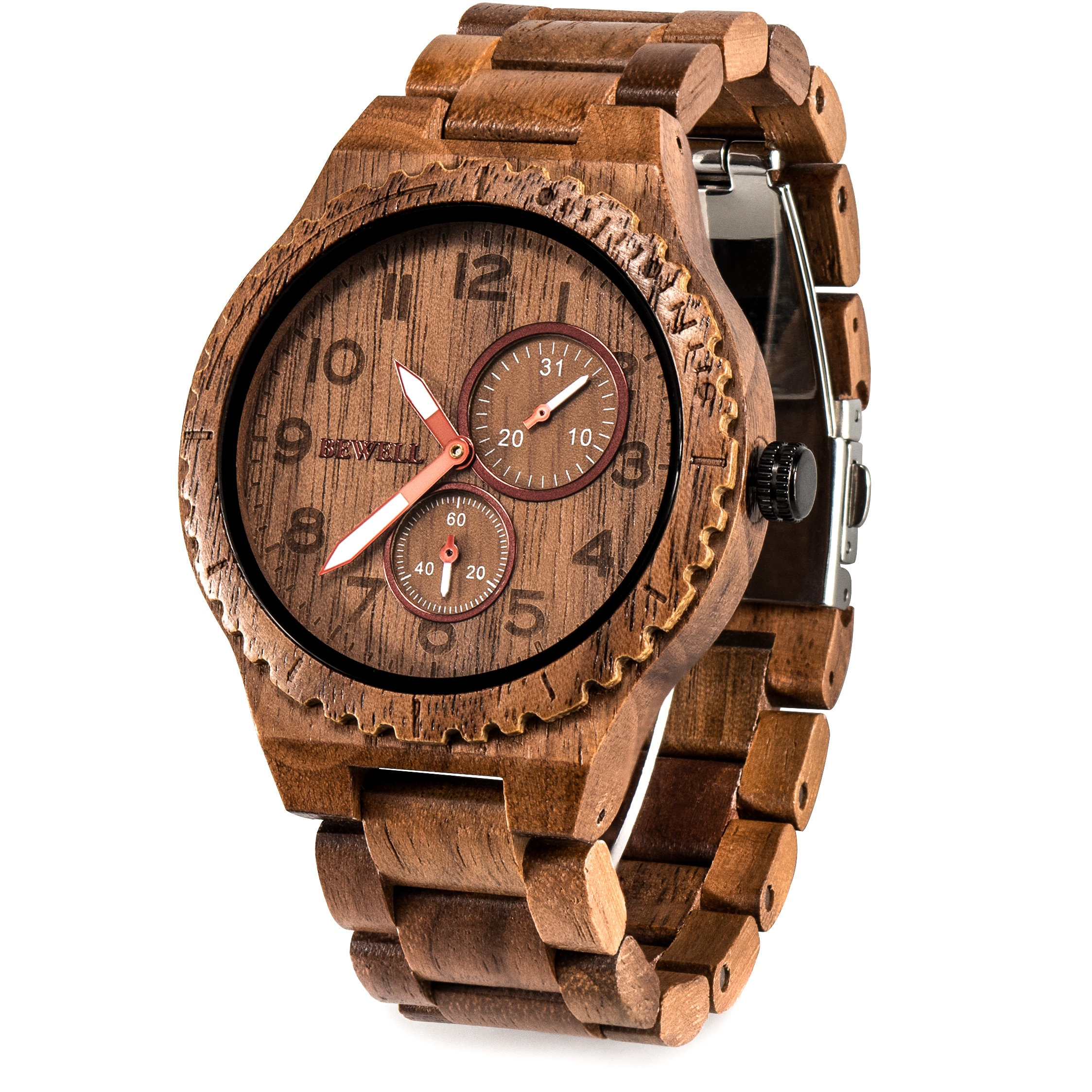 BEWELL деревянные часы Мужские кварцевые повседневные Ретро часы reloj hombre легкие светящиеся деревянные часы для мужчин Relogio Masculino W154A