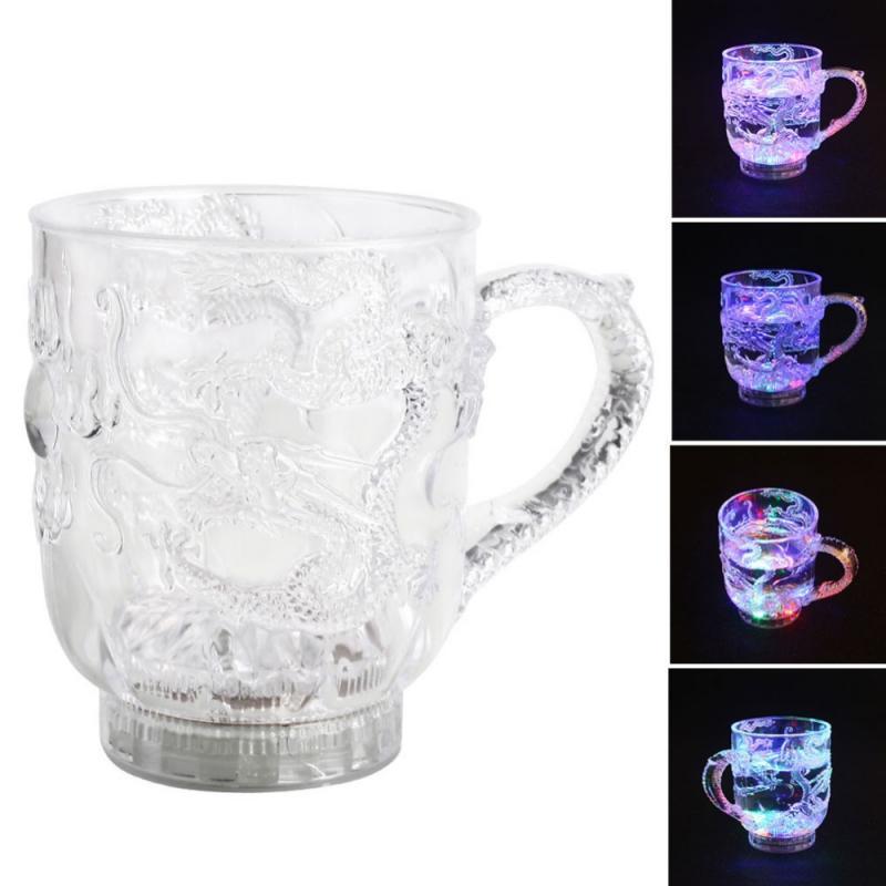 Чаша с драконом со светодиодный Ной подсветкой, меняющая цвет, светящаяся стеклянная кружка для вина, пива, молока, кофе, лимона, сока, виски, посуда для напитков, чашка, светящиеся игрушки