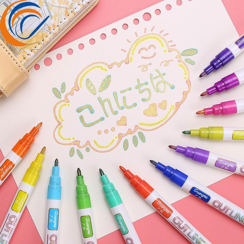 Color Outline Pen 8/12 Colors Per Set Double Line Out Line Marker Pen