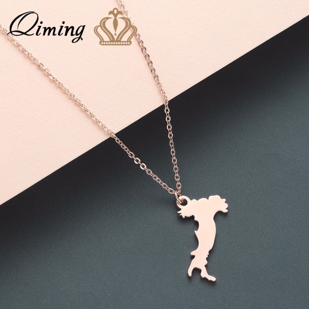 QIMING Italy Map Men Necklace Vintage Europe Trip Italian Pendant fashion Jewelry Best Gift Choker Golden Men Necklace Jewelry