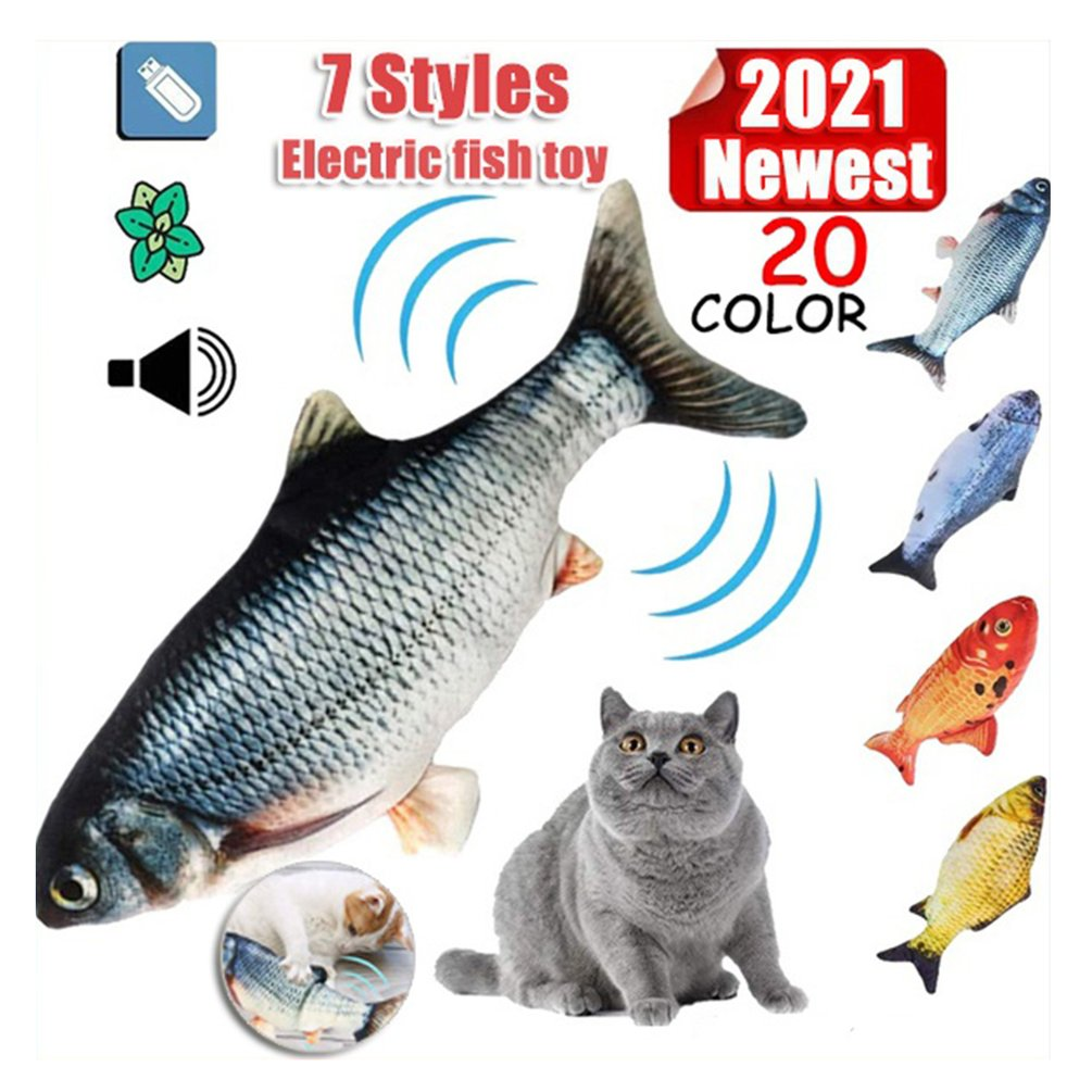 Electronic Pet Toy Electric Colorful Light Music USB Charging Simulation Fish Toys for Dog Cat Chewi