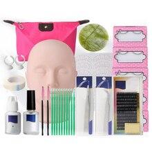 Falsche Wimpern Verlängerung Praxis Übung Kit Make-Up Mannequin Kopf Set Pfropfen Wimpern Tools Kit Praxis Auge Wimpern Graft