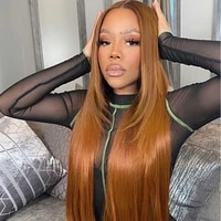 alifitov ginger lace%c2%a0front%c2%a0wigs long kinky straight wig colored human hair wigs transparent lace wigs with baby hair for women