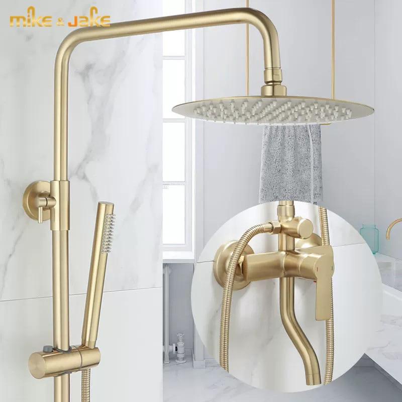 مجموعة دش ذهبية ، فرشاة حائط للحمام ، خلاط دش فاخر ، خلاط دش جداري ذهبي ، حوض استحمام ساخن وبارد