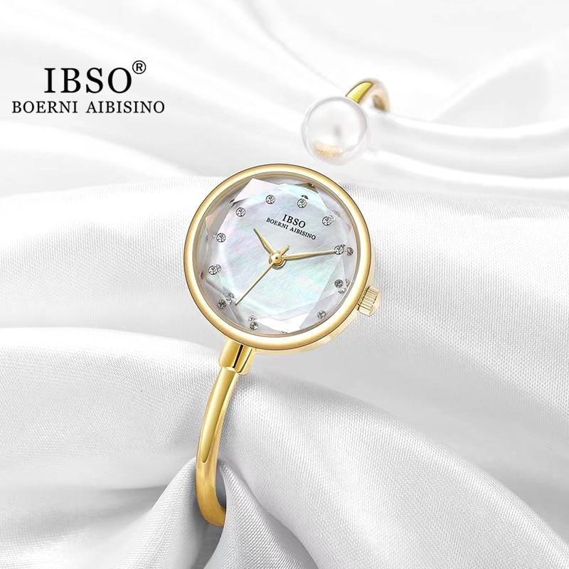 IBSO Adjustable Women Bracelets Ladies Watch Quartz Pearl Wristwatch Watch Women Luxury Elegant Ladi
