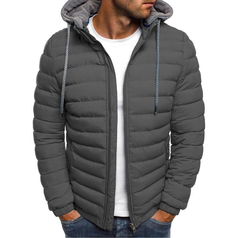 ZOGAA, chaqueta Parkas de invierno para hombre, abrigo con capucha de moda sólido de Stringer, abrigo informal de algodón con cremallera, abrigo cálido para hombre, ropa de calle, prendas de vestir