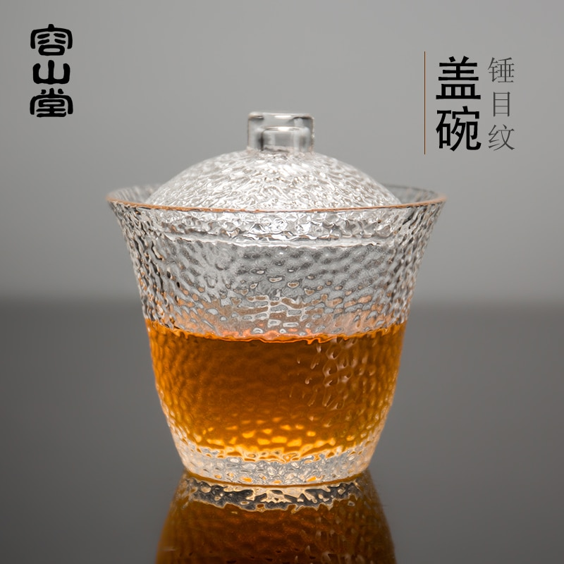 RongShan-طقم شاي kungfu شفاف ، مقاوم للحرارة ، 3 أكواب إلى وعاء