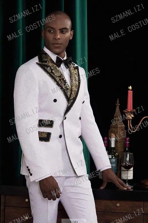 زي أوم ماريج 2020 المصممين الأبيض سهرة الذهب التلبيب الأزهار العريس دعوى مزدوجة الصدر دعوى الرجال بدل زفاف للرجال