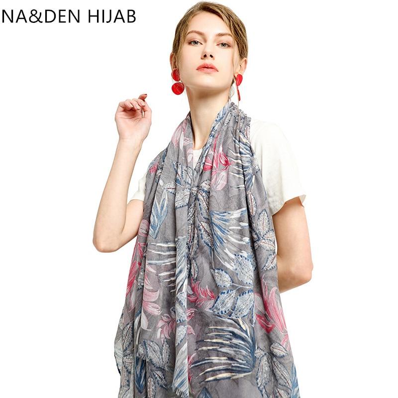 1PCS Winter scarf Islamic bandana Solid shalws Muslim hijab Viscose Long muffler Hi-Q ladies wraps Leaves printing scarves