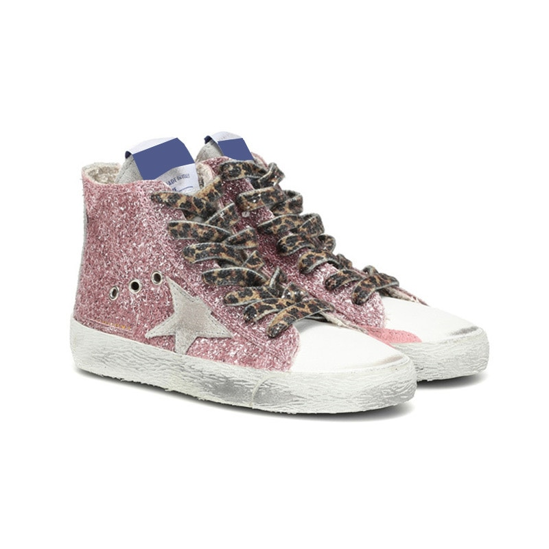 2021 Autumn and Winter  Pink Sequined Stars Retro Old Small Dirty Children's Shoes Boys and Girls Casual Parent-Child Shoes QZ09