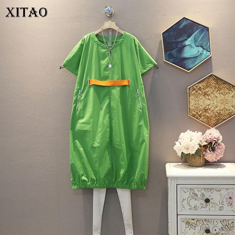 XITAO Women Plus Size Dress Fashion New 2020 Summer Pullover Elegant Elegant Goddess Fan Casual Style Dress Top DMY5340