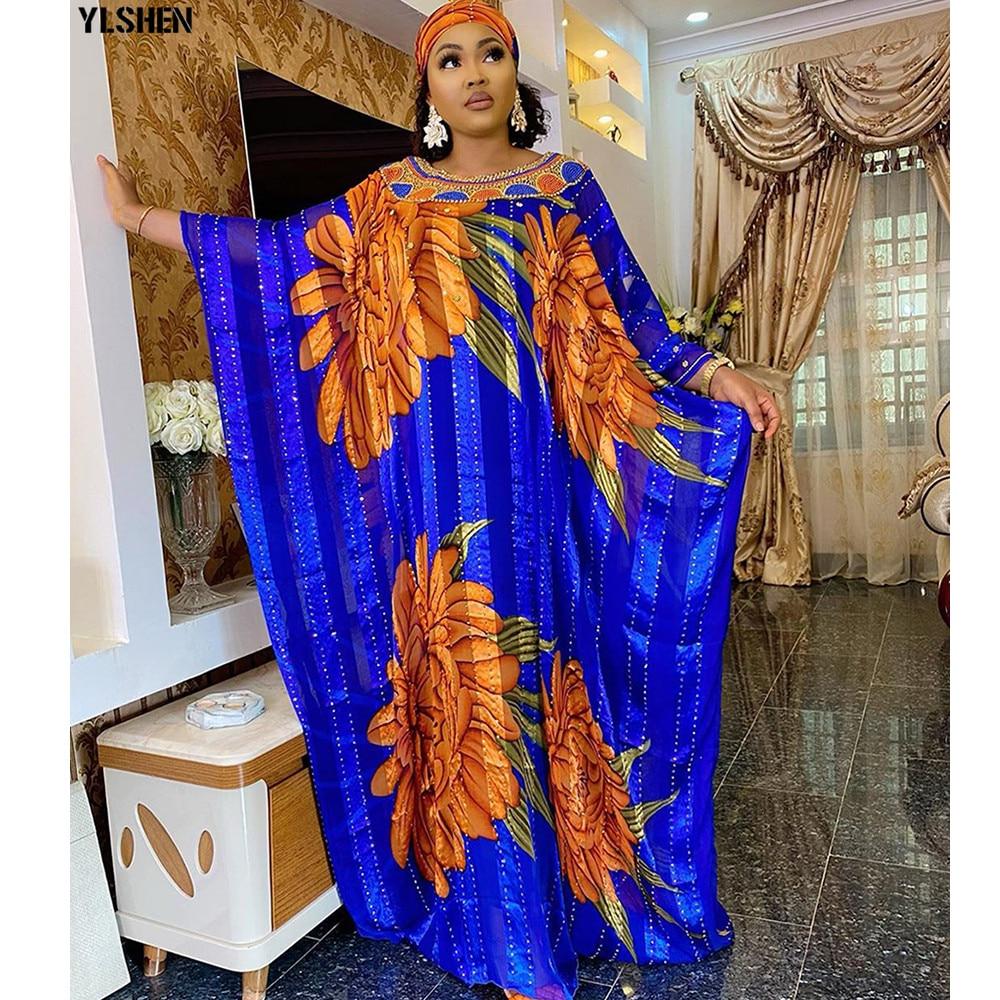 African Print Dresses for Women Plus Size Muslim Maxi Dress Dashiki Diamond African Clothes Abaya Dubai Boubou Robe Africa Dress