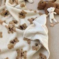 cute baby items newborn plush nursery swaddle blankets soft infant boy girls breathe freely quilt bedding sets for crib stroller