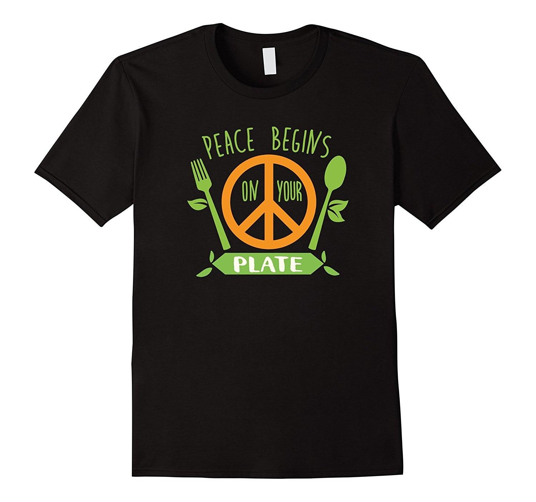 La paz comienza en tu plato vegana regalos vegetales Camiseta de algodón clásico hombres cuello redondo de manga corta Camiseta de moda diseño