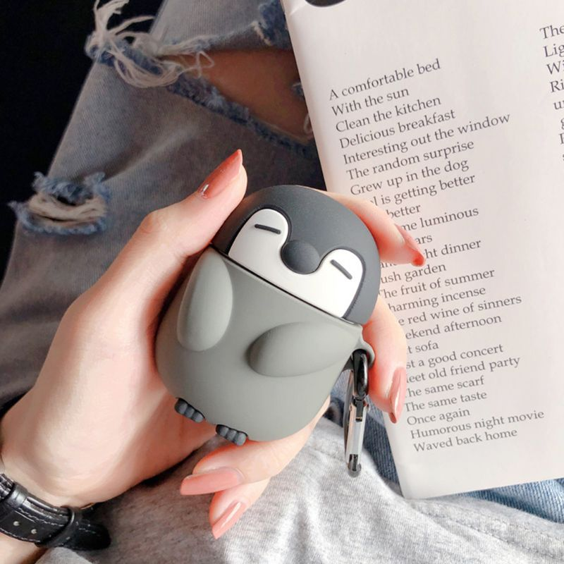 Cute Penguin Style Protective Case Silicone Cover with Carabiner for Airpods 1/2