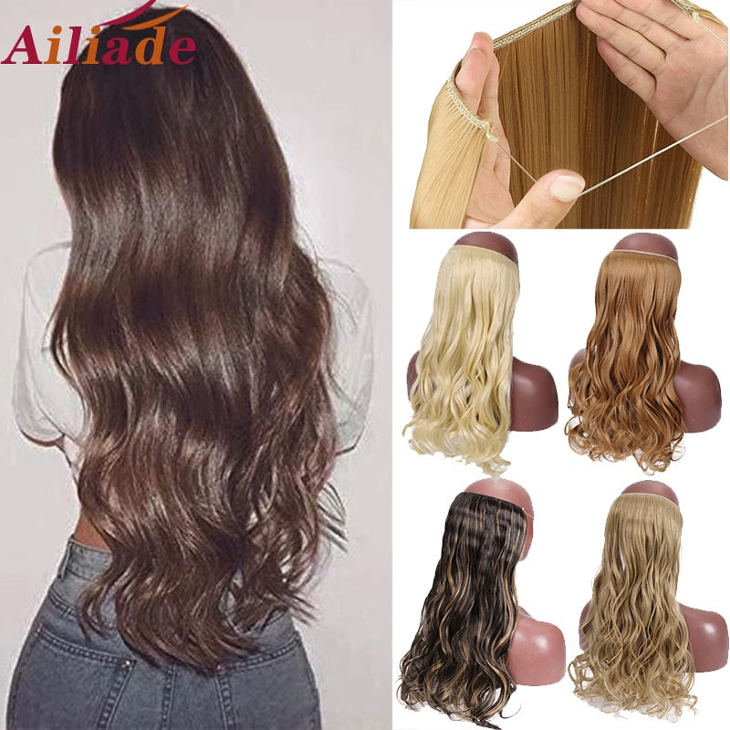 AILIADE Invisible Wire No Clips en extensiones de cabello secreto línea de pescado peluches sedosos rectos u ondulados pelo sintético natural