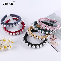 Vikar 2020 novo grande pérolas de cabelo hoop bandana moda feminina veludo doce hairbands elásticos meninas contas acessórios para o cabelo