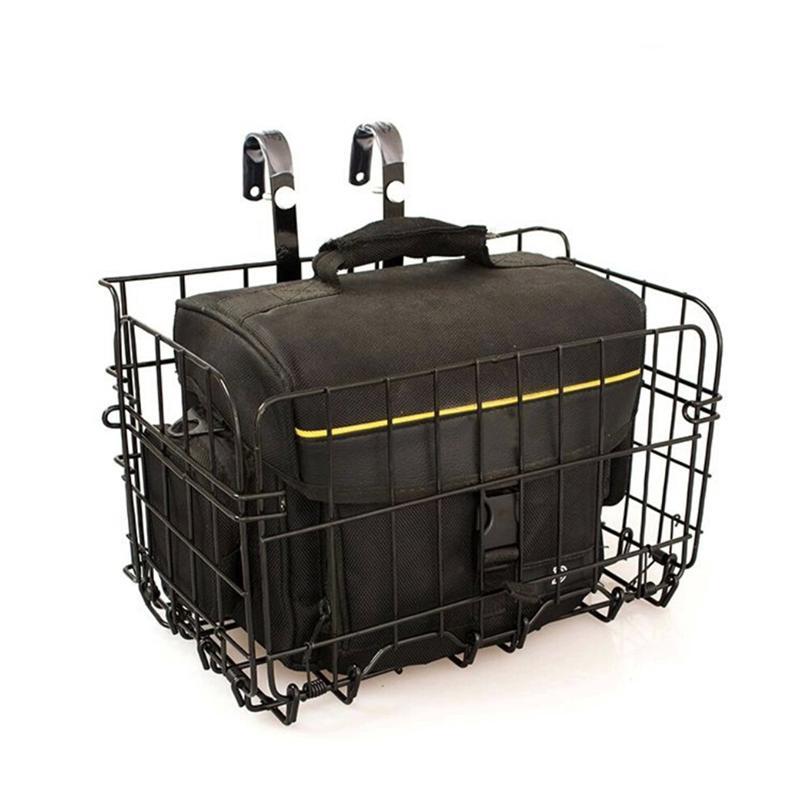 33cm bicicleta cesta saco dobrável fio de metal cesta frente saco traseiro pendurado cesta para mountain bike bicicleta dobrável (preto)
